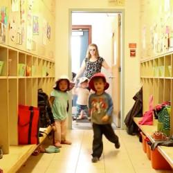 JIllian Gauthier Whitehaven Staff letting children inside from recess